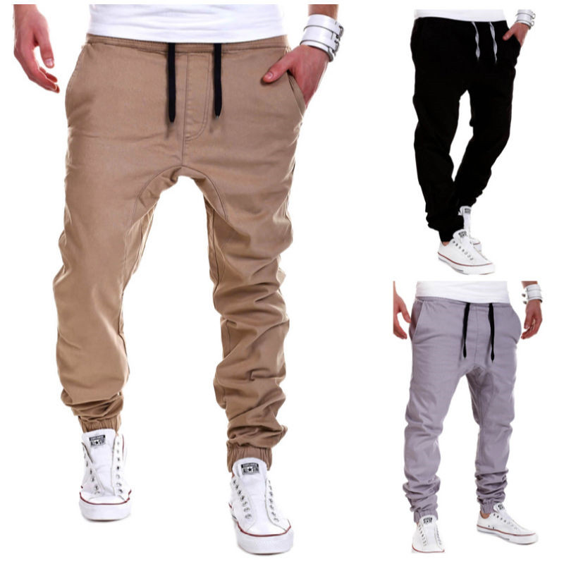 Tracksuit Bottoms Trousers Pants Outwear Lace-Up Slim Autumn Men's Casual Waist Solid