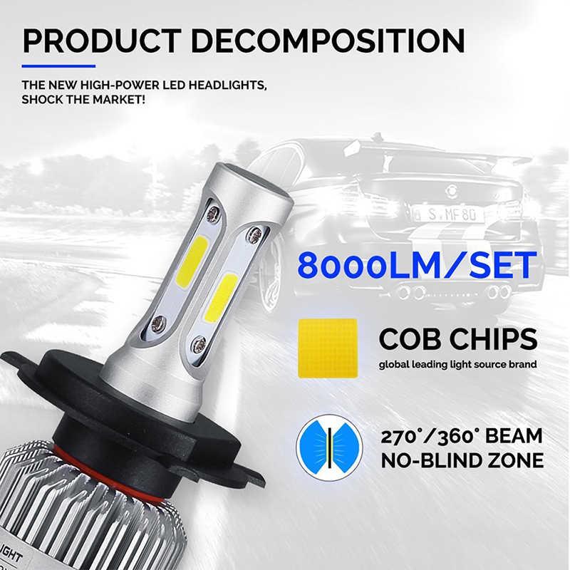 2PCS H4 LED H11 Light Bulbs H1 H3 H7 9005 9006 Car Headlight Kit 12V 36W 8000LM 6500K IP65 COB S2 Headlamp Bulb Auto Fog Lamp