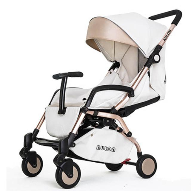 Carro de bebé puede estar sentado y acostado invierno verano bebé de cuatro bolsillo ronda portátil plegable paraguas coche