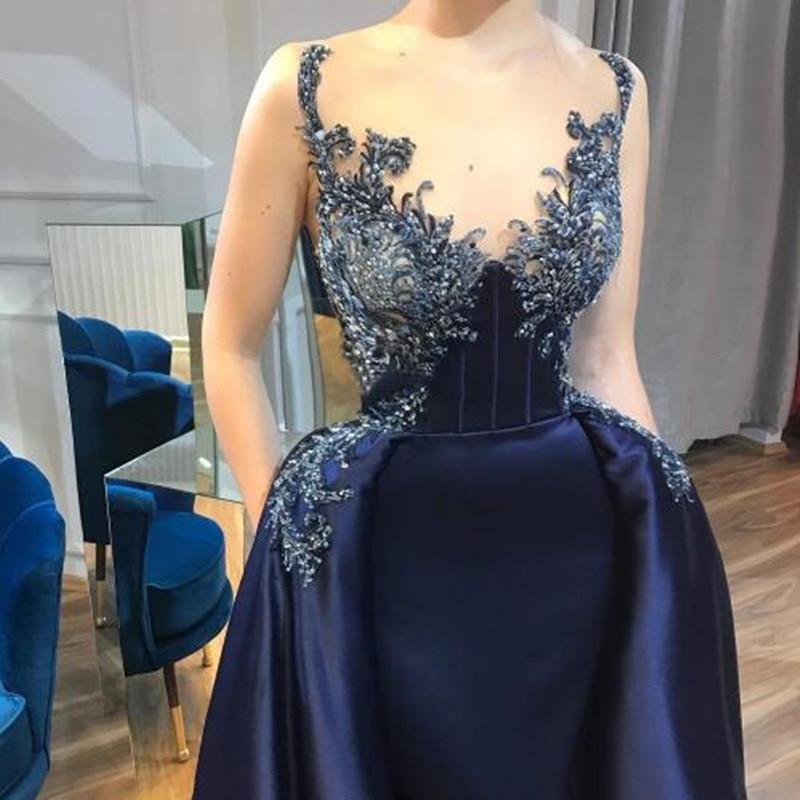 Détachable Prom Bleu Abendkleider Formelle Élégant Sexy Robe Party Gaine Soirée Avec Dentelle Train Marine De Applique Longue 0kXn8PwO