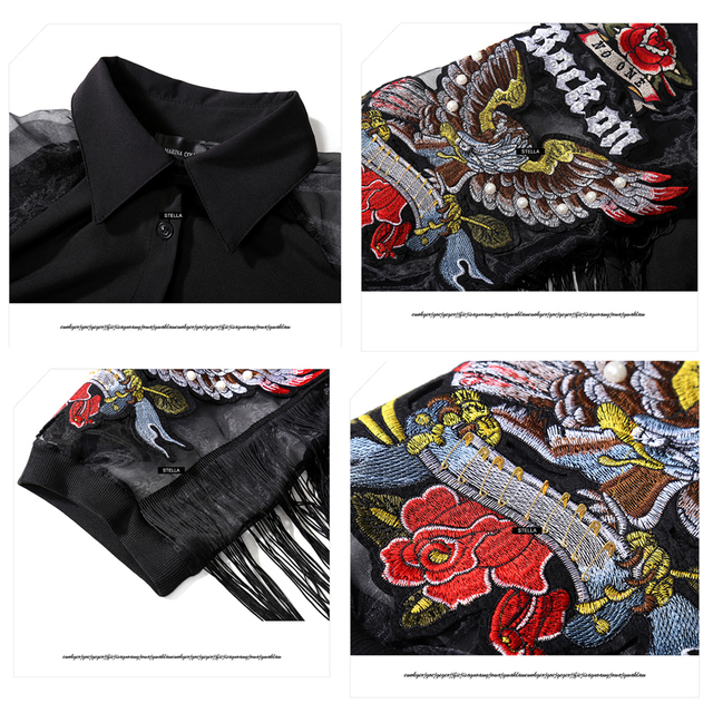 New 2020 Women Black Casual Shirt Dress 3/4 Mesh Sleeves With Eagle Embroidery Fringes Ladies Cute Midi Straight Dress Robe 3398