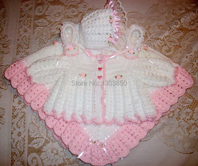 be594869b94a white Crochet Baby Girl Sweater Set Layette Perfect For Baby Shower ...