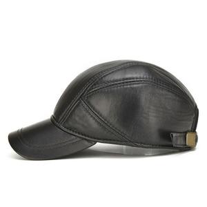 Image 3 - [AETRENDS] koyun derisi deri kap kış şapka erkekler için hakiki deri beyzbol şapkası kulaklı baba şapka şoför şapkası Casquette Z 5295