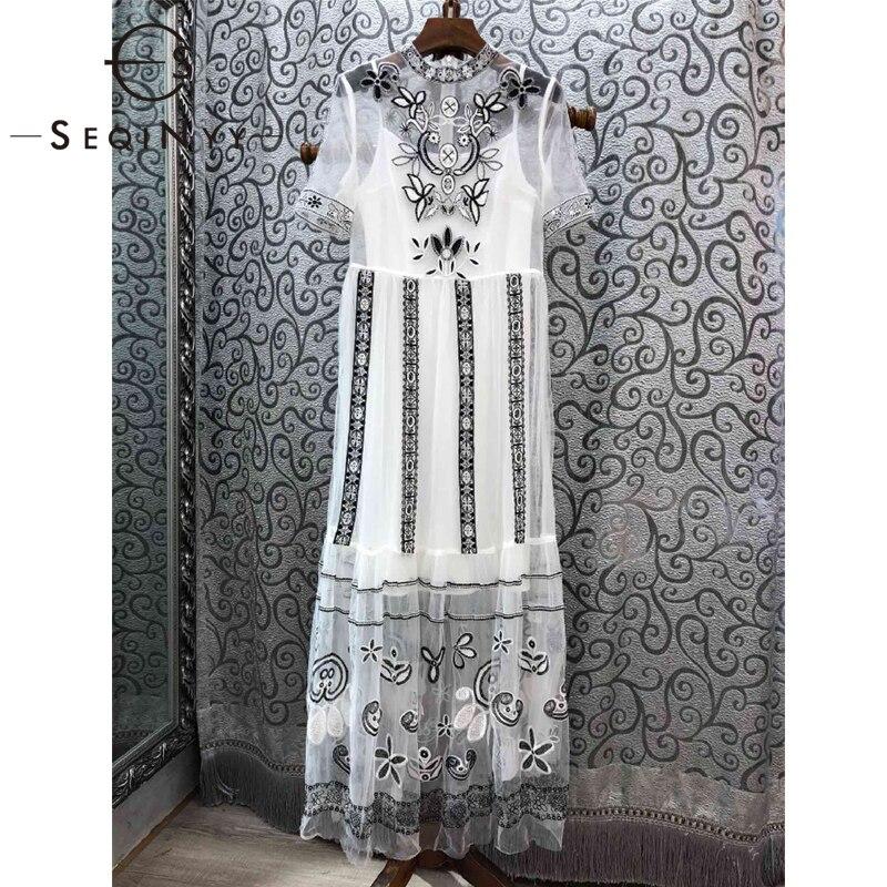 SEQINYY Elegant Long Dress 2019 Summer Spring New Fashion Design Short Sleeve Mesh Embroidery Flowers Luxury