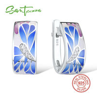 Silver Stud Earrings For Women Colorful Enamel Earrings Pure 925 Sterling Silver CZ Stone Earrings Fashion