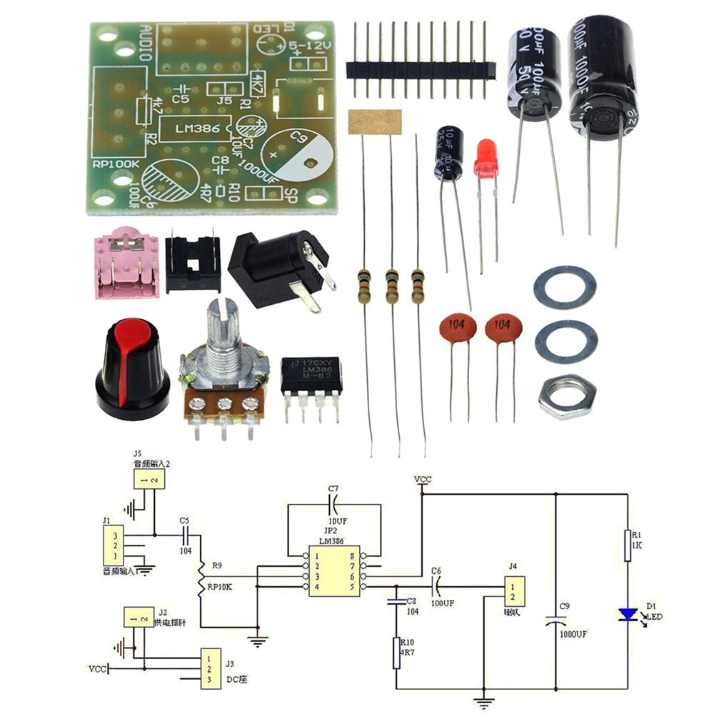 Lm386 Amplificador Module Board 3 12v M386 Super Mini Audio Amplifier Circuit With Pcb Diy Kit
