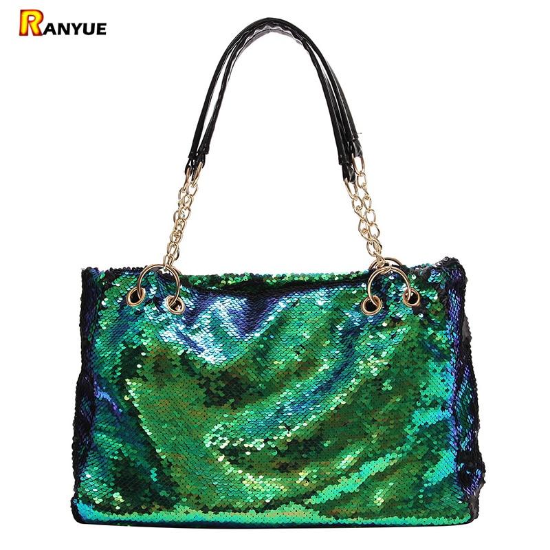 bdb000c06ab5 Glitter Sequins Bag Women Handbag Green Big Large Capacity Tote Bags For Women  Pu Leather Handbags Chain Shoulder Bag Female Sac