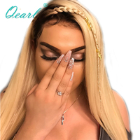 Qearl Hair 130% Full Lace Wigs Ombre Two Tone Color Wig Brazilian Remy Real Human Hair Wig Straight with Baby Hairs Pre Plucked