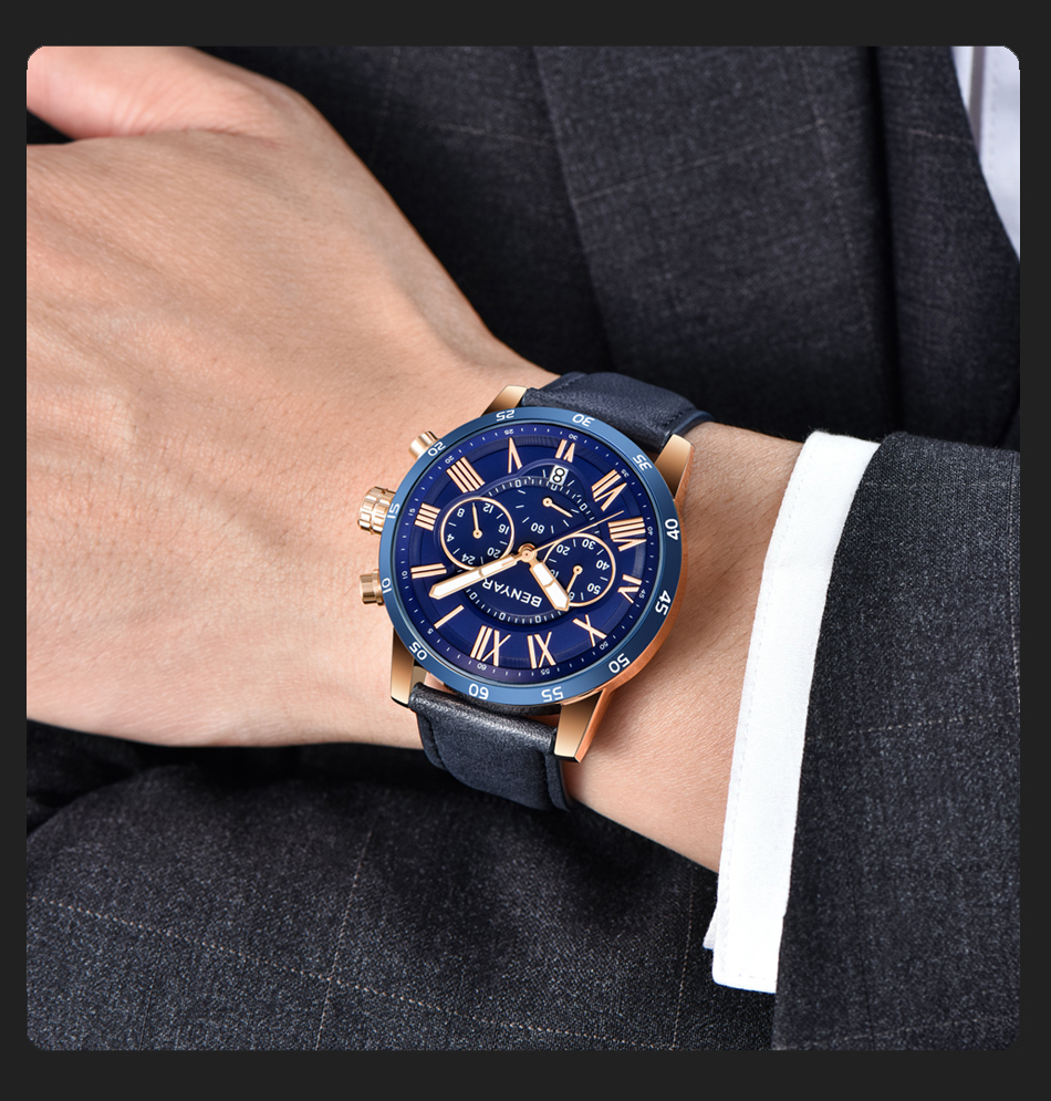 HTB10QgWRAzoK1RjSZFlq6yi4VXaL 2019 Top Luxury Brand BENYAR Fashion Blue Watches Men Quartz Watch Male Chronograph Leather WristWatch Relogio Masculino