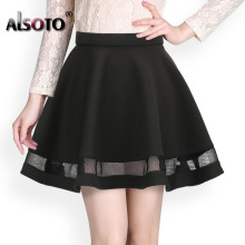 Fashion Grid Design women skirt elastic faldas ladies midi skirt Sexy Girls mini Pleated skirts saias Korea clothes(China)