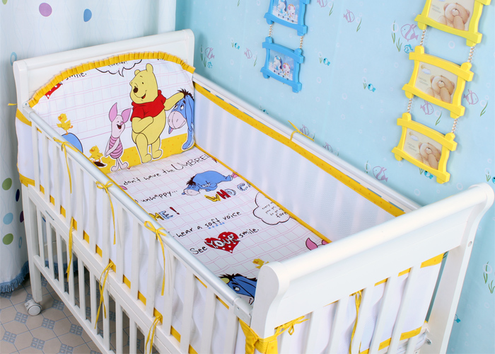 Promotion! 5PCS Mesh crib bedding set ,infant nursery set,baby bedding set Baby Cot Bedclothes (4bumpers+sheet)