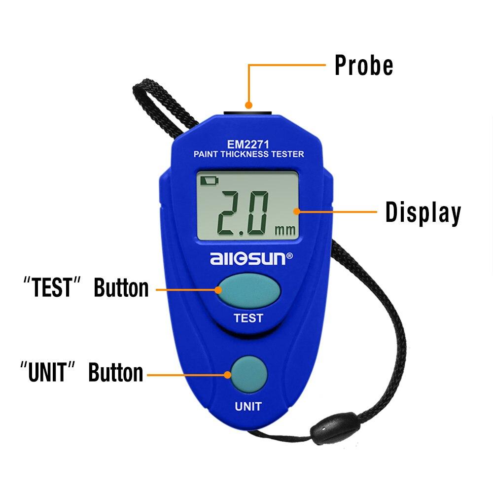 Medidor de espesor EM2271 con pantalla Digital Manual ruso medidor de espesor de pintura de coche
