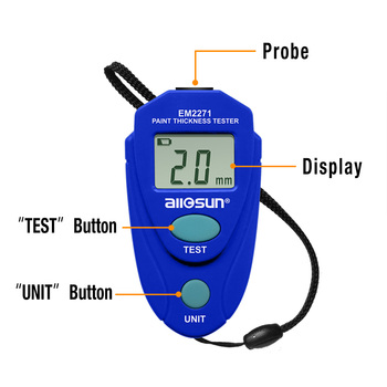 all-sun Miernik grubości EM2271 z rosyjski instrukcja wyświetlacz cyfrowy samochodów malowanie miernik grubości tanie i dobre opinie all sun 2 rdg +-0 1mm or 2 rdg+-4mil 0 1mm 1mil 0 0mm to 2 0mm 0mil to 80mil Magnetic 3V button cell CR2032 about 23 g (including battery)