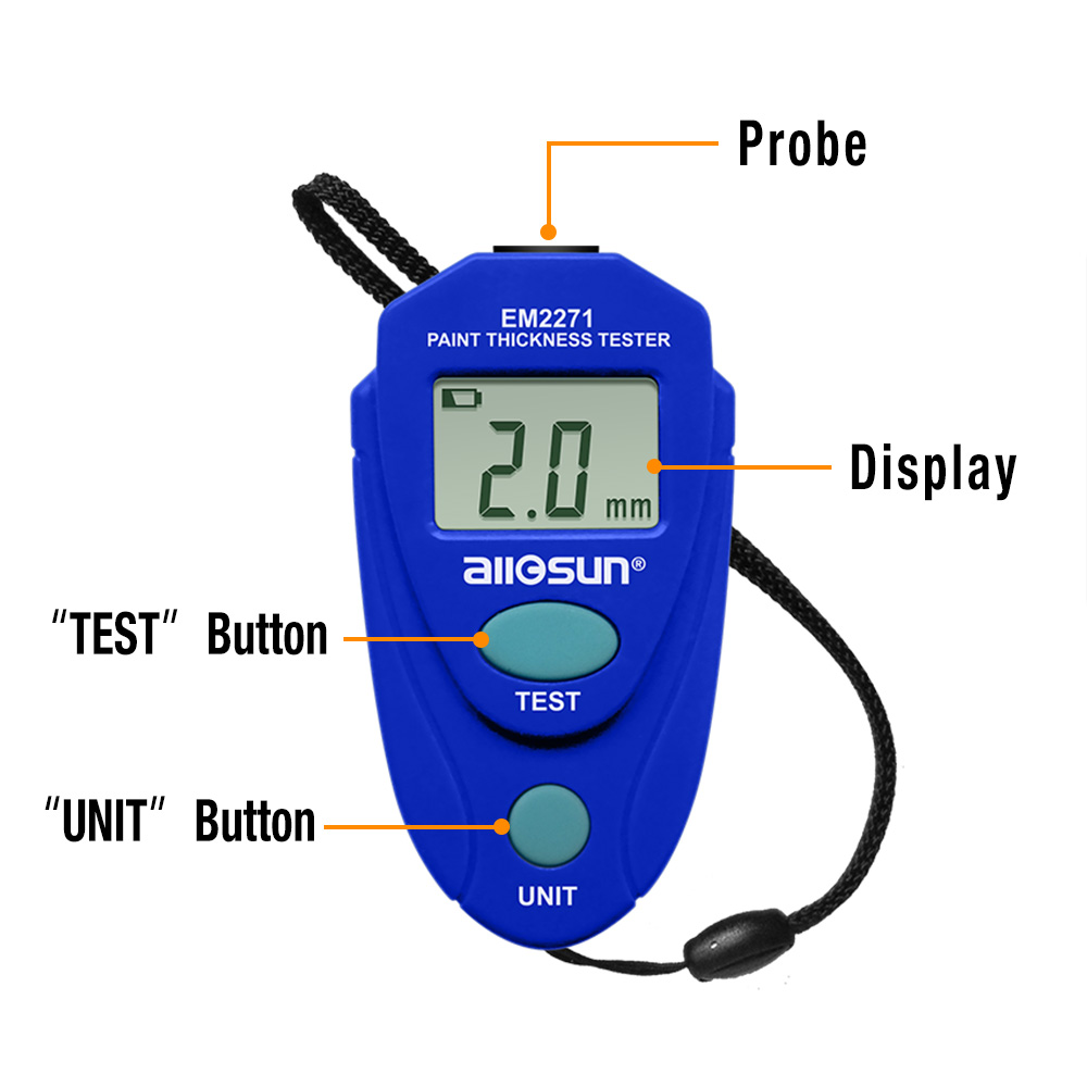 all-sun Thickness Gauge EM2271 With Russian Manual Digital Display  Car Painting Thickness Meter