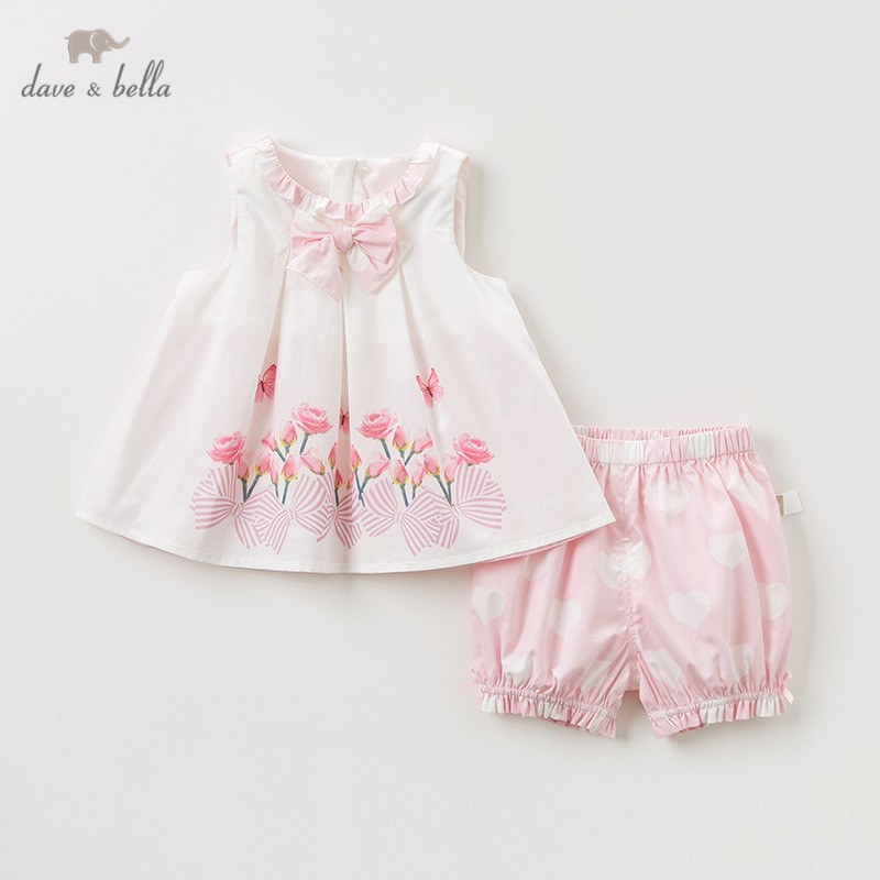 DB10238 Dave bella summer baby girl clothing sets cute children floral suits infant high quality clothes