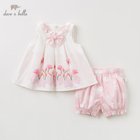 DB10238 Dave bella summer baby girl clothing sets cute children floral suits infant high quality clothes girls pullover outfit