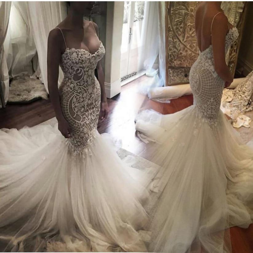 Por Encargo vestidos de noiva Sirena vestidos de Novia de Tul de Encaje Vestidos