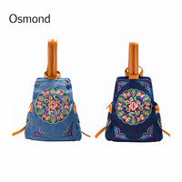 Osmond Chinese Style Embroidery Cowboy Backpack Retro Ethnic Bag Girls Lady Unique Schoolbags Women Travel Rucksack Bags Mochila