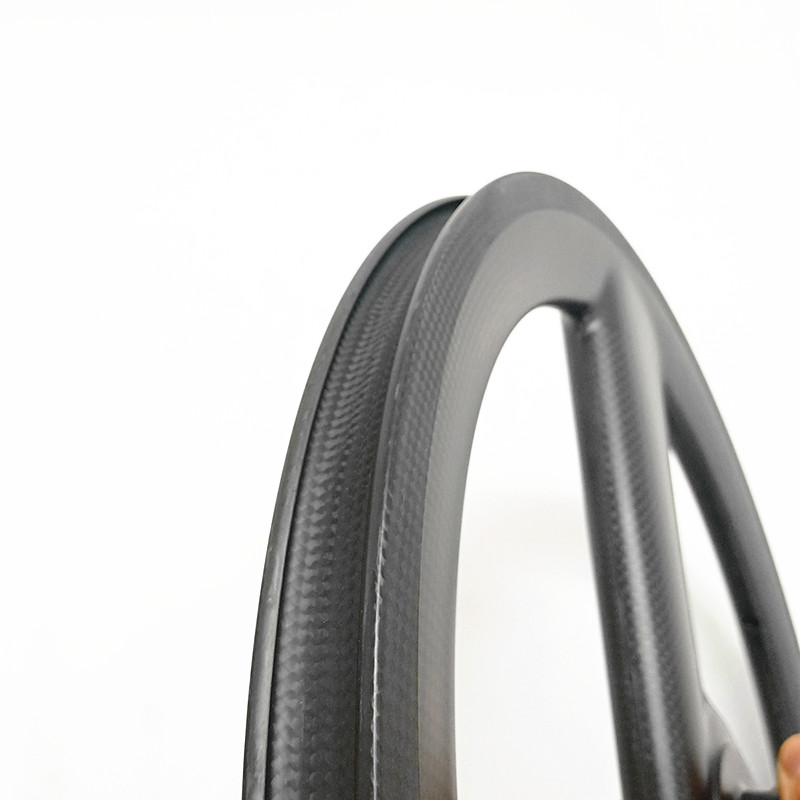 Best carbon 3 spokes wheels bicycle carbon 3 spokes wheelset 3K UD 20in 406 3 spokes wheels 100x9mm 130x9mm V brake 20in wheels 3