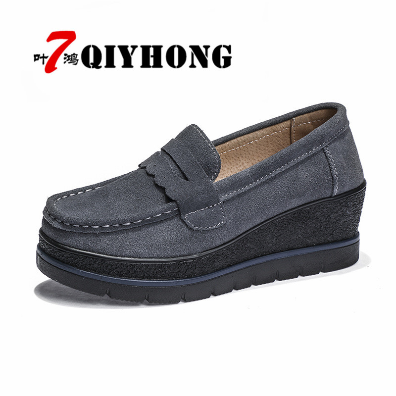 QIYHONG 2018 Autumn Women Flats Thick Soled Genuine Leather Platform Sneakers Shoes Female Casual Shoes Slip-On Flats Creepers nayiduyun women genuine leather wedge high heel pumps platform creepers round toe slip on casual shoes boots wedge sneakers