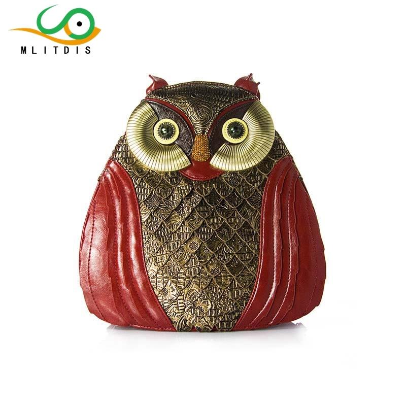 MLITDIS Retro OWL Shoulder Bags Women Travel Backpack Creative Bags Art Female Owl Bird original design morn creations hoary gold cashmere owl shoulder bag woolen flannel women typical owl backpack