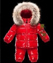 2015 Promotion Winter Jacket Retail Winter Baby Children's Wear Down Jacket Dress Free Shipping In Stock Russian Warm Duck Suit