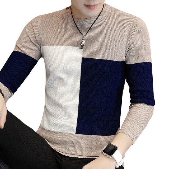 Осень 2019, повседневный мужской свитер с круглым вырезом, приталенная трикотажная одежда, мужские свитера, пуловеры, Вязаные Рубашки