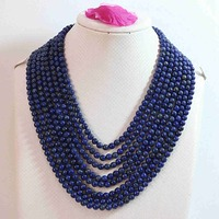 Natural lapis lazuli stone 6mm round beads 8 rows diy necklace high grade women pro weddings party gifts jewelry 17 26inch B649
