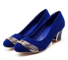 ФОТО Big Size 34-47 Ladies Womens Sweet Faux Suede Sqaure Heel Pumps For Women Shih Cashmere Metal Designer Elegant High Heel Shoes