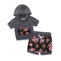 Summer Kids Newborn Girls Clothes Set Short Sleeve Hooded Coat Tops Floral Shorts Outfits Children Clothing Set 0-24M 2PCS