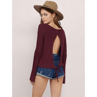 New Spring Womens Blouse Top Fashion Long Sleeve Open Back Slim Shirt Tops O Neck Lady