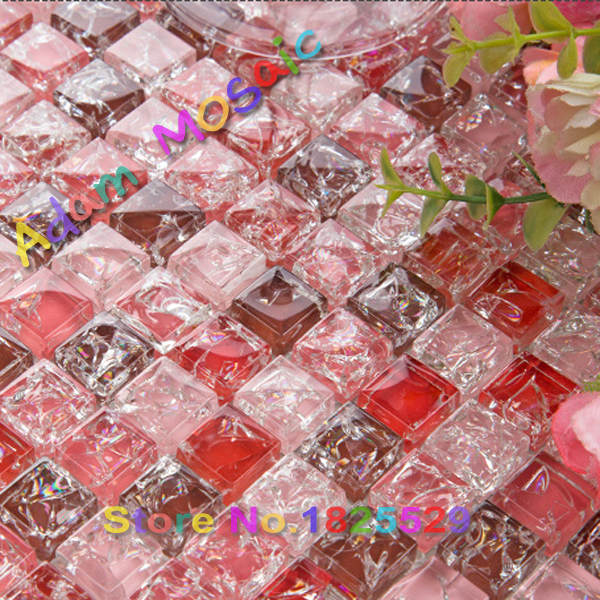 Red Glass Tile Bathroom Wall Design Pink Crackle Tiles Subway Mirror Materials Shower Ideas Interior