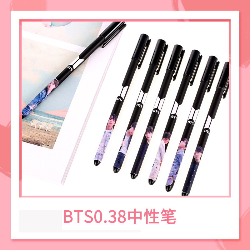 Pens, Pencils & Writing Supplies 2 Pcs/lot Kawaii New K-pop Bts Bangtan Boys Love Yourself Gel Pen Black Ink V Jimin Suga Jungkook With Photo Novelty Fans Gift Elegant In Style