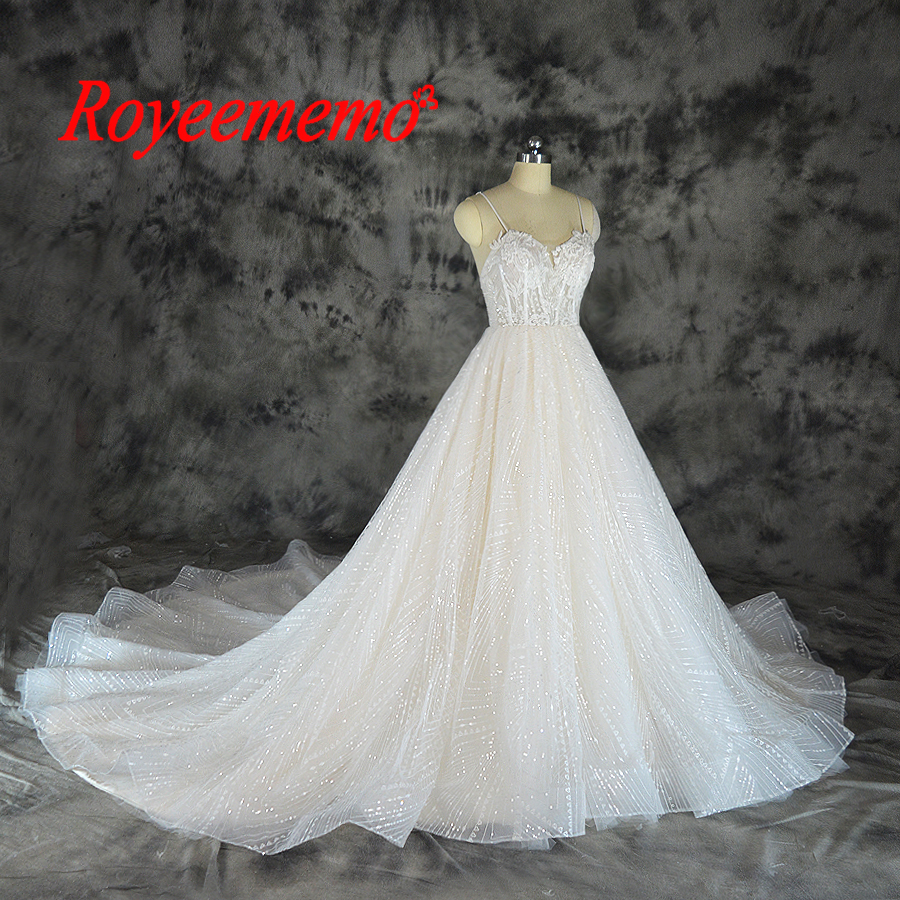 2019 shining lace design wedding dress sequined lace transparent top wedding gown wholesale price spaghetti straps