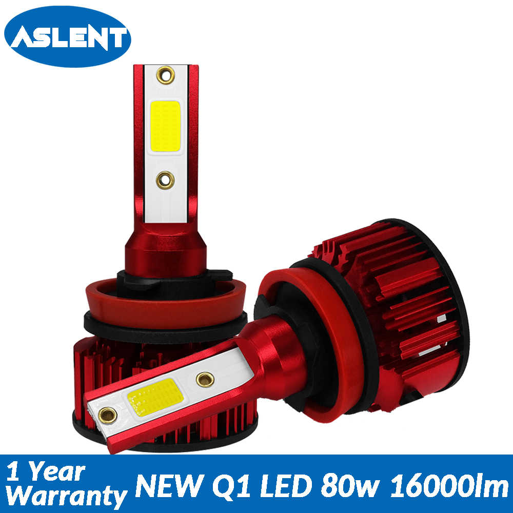 Aslent Mini Size 80W 16000lm 6500K Car Headlight H7 H4 LED H8 H9 H11 9005 HB3 HB4 9006 for Auto Bulb Headlamp Light lamps 12v