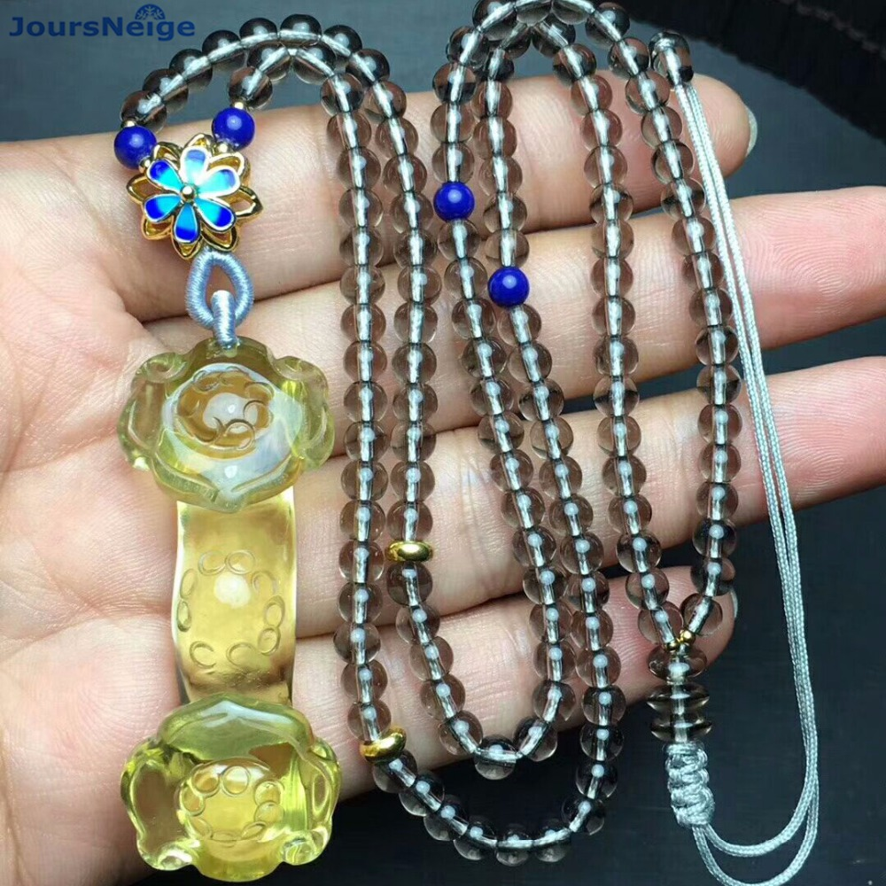 Wholesale Fine Yellow Natural Crystal Pendants Hand Carved Ruyi Pendant Sweater Chain Necklace Luck for Women Men Gift Jewelry men and women lovers style pure hand carved hollow out god beast pendant necklace sweater chain