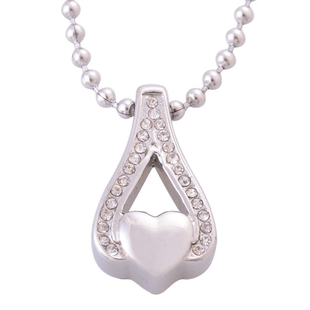 ff66238bb82e Las mujeres de cristales de acero inoxidable corazón hueco colgantes  collares joyería de la cremación urnas para cenizas monumentos collar IR183