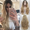 Aurica Fashion Short Brown Root Ombre Blonde Bodywave Heat Resistant Synthetic Hair Lace Front Wig