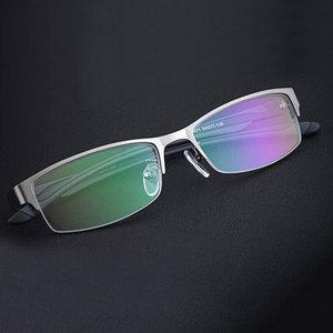 Image 4 - High end Business Lesebrille Edelstahl Halb Randlose Brillen Rahmen Optische Verordnung Brillen