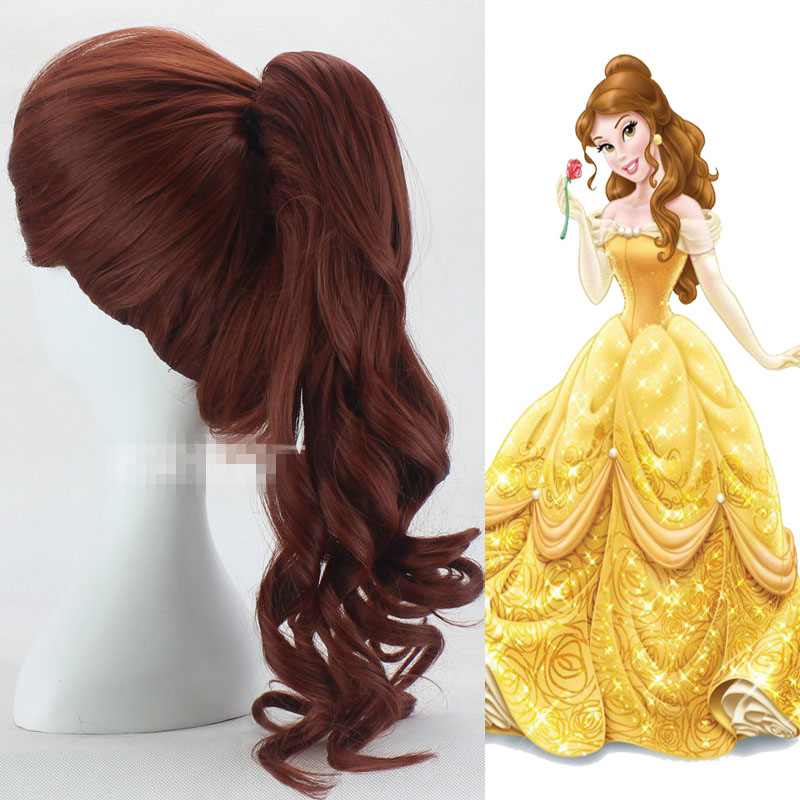 Beauty and the Beast Bella Cosplay Wigs Halloween,Party,Stage Brown Long Curly Hair high quality New Anime Princess Cosplay Wig