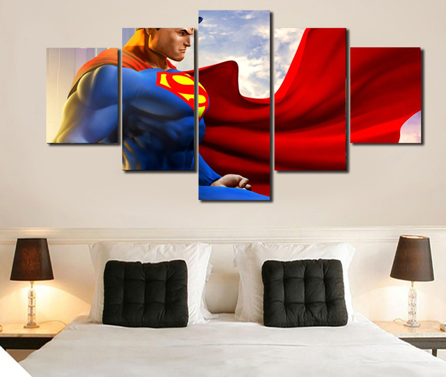 New HD 5 piece canvas art Superman Wall Art  Decoration for home Living Room Or Bedroom Canvas Print Painting Wall PictureJ0322