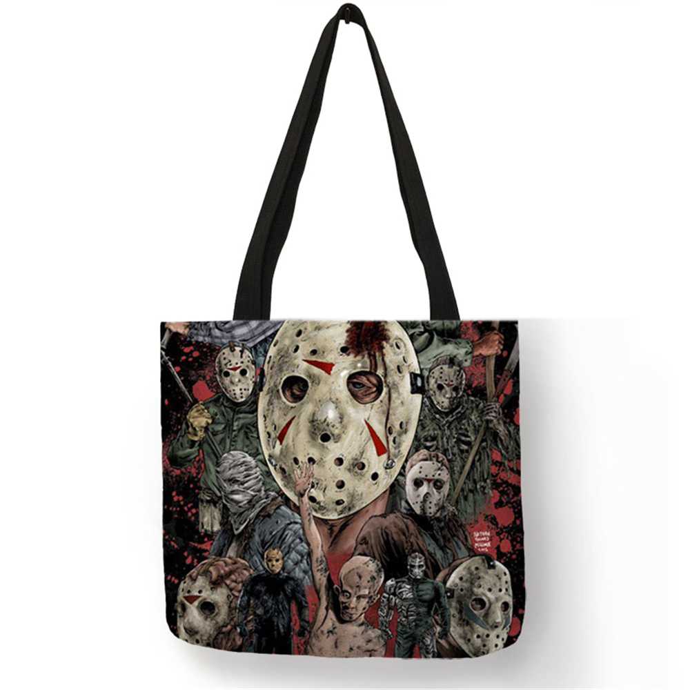 2018 New Shoulder Bag Horror Movie Character Collection Totes Linen High Quality Fabric Reusable Daily Office Use For Ladies
