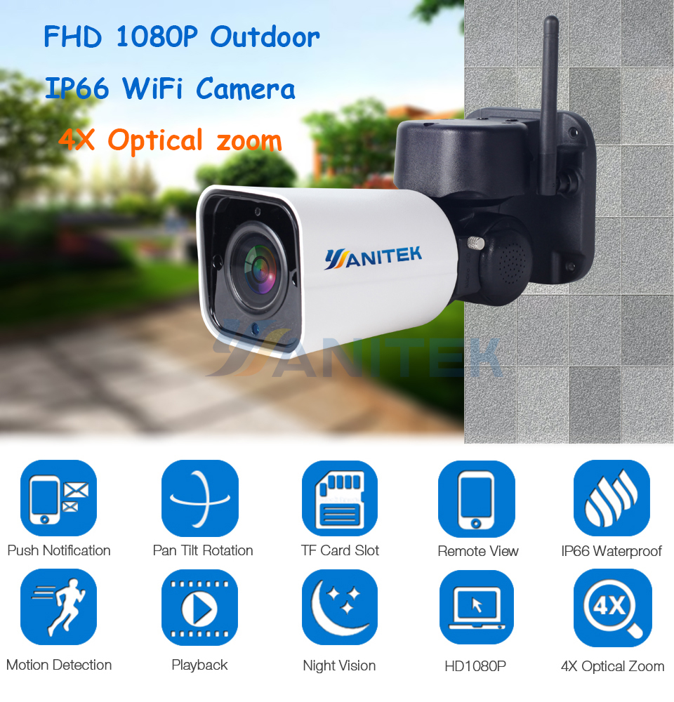 Image 2 - 1080P 2MP PTZ IP Camera WiFi Bullet Outdoor Wireless WiFi Waterproof Camera CCTV Security Surveillance 4X Optical Zoom IP Camara-in Surveillance Cameras from Security & Protection