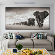 Modern Canvas Painting Nordic Posters And Prints Decoration Black White Elephant Queue Art Wall Picture For Living Room