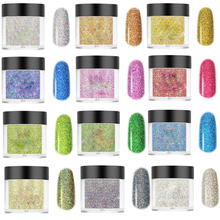 Holographic Glitter Nail Powder ,Laser Dipping 13Color French Dip Nails No Lamp Cure Fast Dry 1Jar