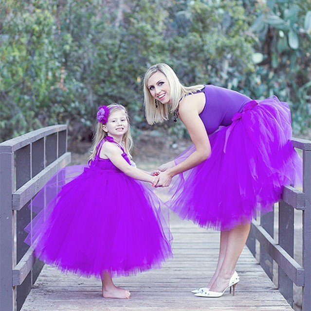 tutu purple daughter mother party wedding birthday Photograph skirt  cloth sets family matching outfits  Europe dress costume