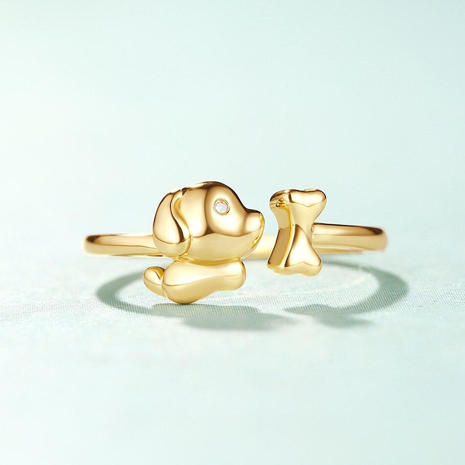 ALLNOEL Real Zircon Ring For Women Stainless Steel Open Design Bijoux En Argent Cute Dog Bone Gemstone Jewelry Wedding Gift  (5)