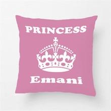 Милый розовый чехол для подушки принцессы на заказ, декоративный чехол для подушки из хлопка и полиэстера