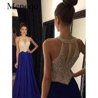 Vestidos de Fiesta 2019 Long Evening Dresses Royal Blue Chiffon A line Formal Long Dress Halter Abendkleider Custom made 102417W