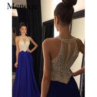 Vestidos de Fiesta 2020 Long Evening Dresses Royal Blue Chiffon A line Formal Long Dress Halter Abendkleider Custom made 102417W